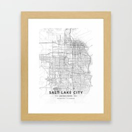 Salt Lake City, United States - Light Map Framed Art Print