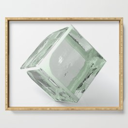 Block of glass on white background - 3D rendering Serving Tray