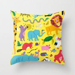 Animal Parade Throw Pillow