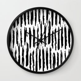 Vertical Dash Black and White Paint Stripes Wall Clock