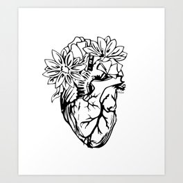 Floral Mexican Heart - black and white Art Print