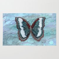 patriotic Area & Throw Rugs featuring Patriotic Butterfly by Linda Ginn Art ©