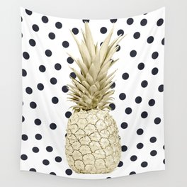 Gold Pineapple on Black and White Polka Dots Wall Tapestry