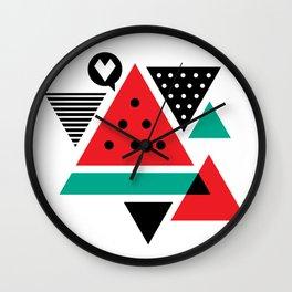 Watermelon Geometic Triangles Wall Clock