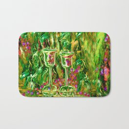 Wine glass with grapes,ladykashmir Bath Mat
