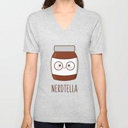 Nerdtella (with text) Unisex V-Neck