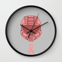 master chief Wall Clocks featuring Pink  Halo Master Chief Helmet by RoboKev