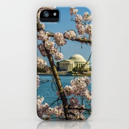 Cherry Blossoms over Jefferson Memorial iPhone Case