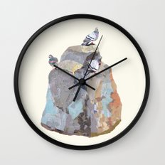 The Pigeon on a Rock Wall Clock