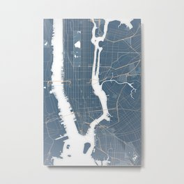 New York City - Detailed Road & Subway Map Metal Print