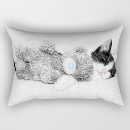 Kitten and teddy Rectangular Pillow