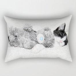 Kitten and teddy Rectangular Pillow