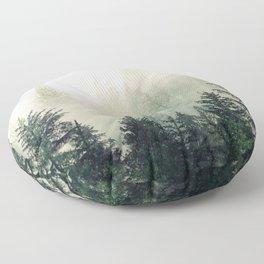 Foggy Pine Trees Floor Pillow