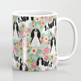 Cavalier King Charles Spaniel floral flowers dog breed pattern dogs mint Coffee Mug