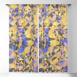 geometric triangle pattern abstract in orange blue yellow Sheer Curtain