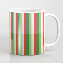 Green, Star White and Red Stipe Overlay Pattern Coffee Mug
