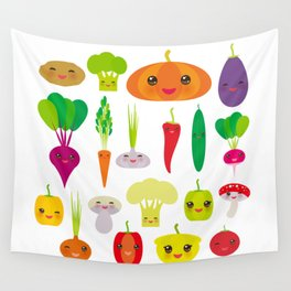 Kawaii vegetables peppers, pumpkin beets carrots, eggplant, red hot peppers, cauliflower, broccoli Wall Tapestry