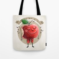 apple Tote Bags featuring Apple by Lime