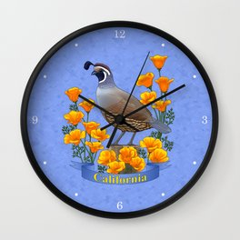 California State Bird Quail and Golden Poppy Wall Clock