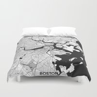 boston map Duvet Covers featuring Boston Map Gray by City Art Posters
