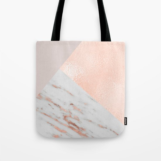Blush pink layers of rose gold and marble Tote Bag