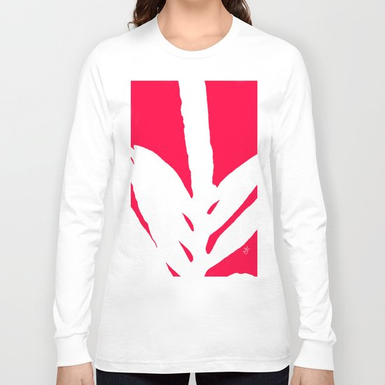 Missing White Fern on Bright Red Pink Fuchsia Long Sleeve T-shirt