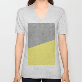 Concrete and Yellow Color Unisex V-Neck