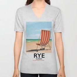 Rye beach travel poster Unisex V-Neck