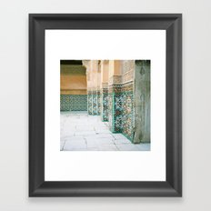 tiles in Medersa Ben Youssef Framed Art Print