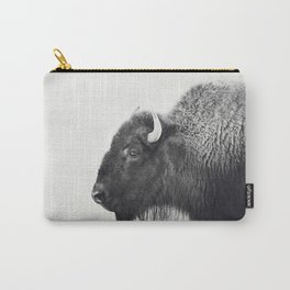 Buffalo Photograph in Black and White Carry-All Pouch