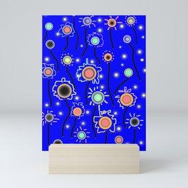 ABSTRACT STARRY LIGHTS ON BRILLIANT BLUE Mini Art Print