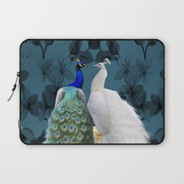 White Peacock and Blue Peacock Bird A732 Laptop Sleeve