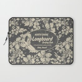 Club Surfing Longboard Logo and Hibiscus Hawaiian Print  Laptop Sleeve