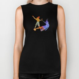 Women soccer players 02 in watercolor Biker Tank