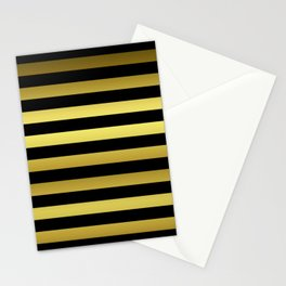 Black and Gold Jumbo Beach House Stripes Stationery Cards