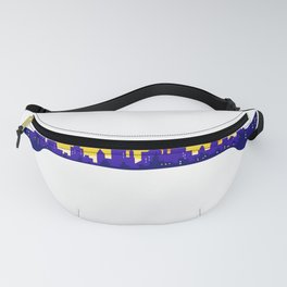 Wrench With Cityscape Buildings Silhouette Retro Fanny Pack