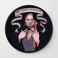 sansa stark Wall Clocks featuring Sansa by Sara Meseguer