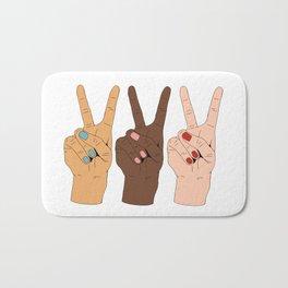 Peace Hands Cartoon Bath Mat