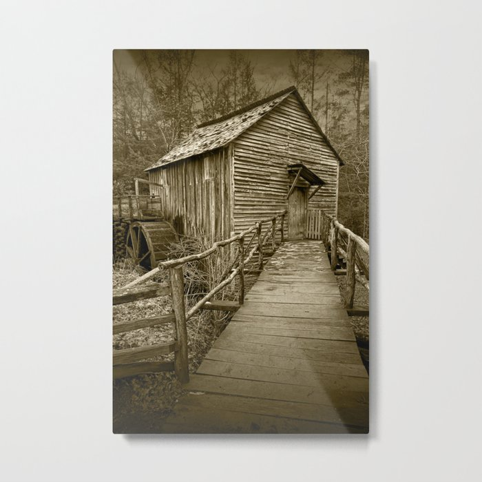 Sepia of The John Cable Gristmill in Cade's Cove Metal Print