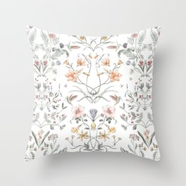 Painted Botanical Garden Throw Pillow