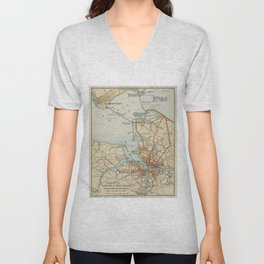 Vintage Map of Norfolk and Portsmouth VA (1919) Unisex V-Neck
