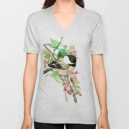 Chickadee and spring blossom Unisex V-Neck