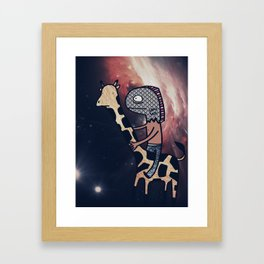 Half Man/Half Fish Riding a Giraffe in Space Framed Art Print