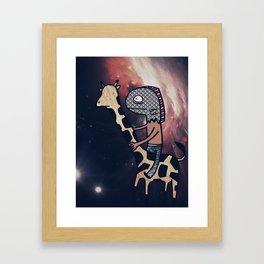 Half Man/Half Fish Riding a Giraffe in Space Framed Art Print