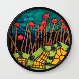 Bent Saplings Nature Center Architectural Illustration Wall Clock