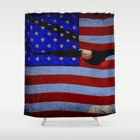 america Shower Curtains featuring America!!  by Alaskan Momma Bear