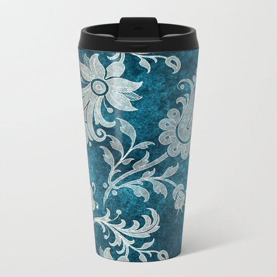 Aqua Teal Vintage Floral Damask Pattern Metal Travel Mug
