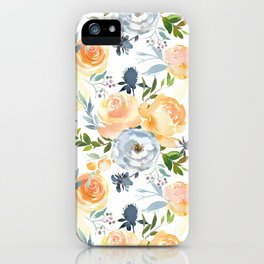 Blush gray orange watercolor hand painted floral iPhone Case