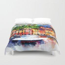 Watercolor Pier Paint Duvet Cover