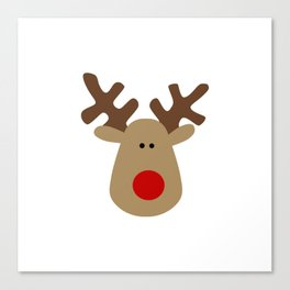 Christmas Reindeer-White Canvas Print